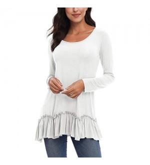 Damen Casual Langarm Rundhals Tunika Hemd T-Shirt mit Swing-Saum
